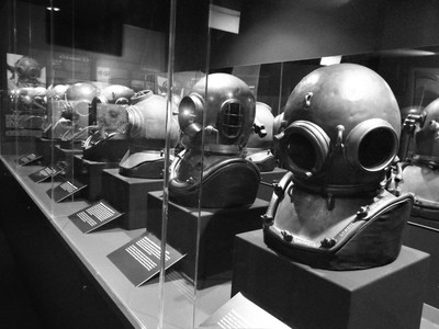 Small selection of Diving Helmets over time in B&W