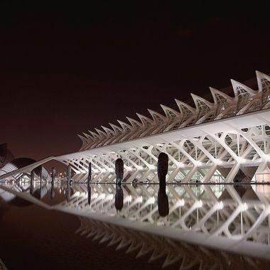 Ciutat de les Arts i les Ciències Valencia by night in b&w