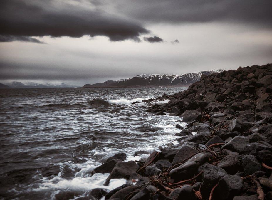 Winter storm rough rugged Icelandic landscape.
