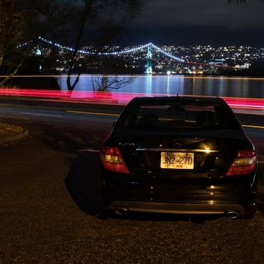 A nice shot  of the Mercedes, light trails, and the Lionsgate bridge from Stanley Park