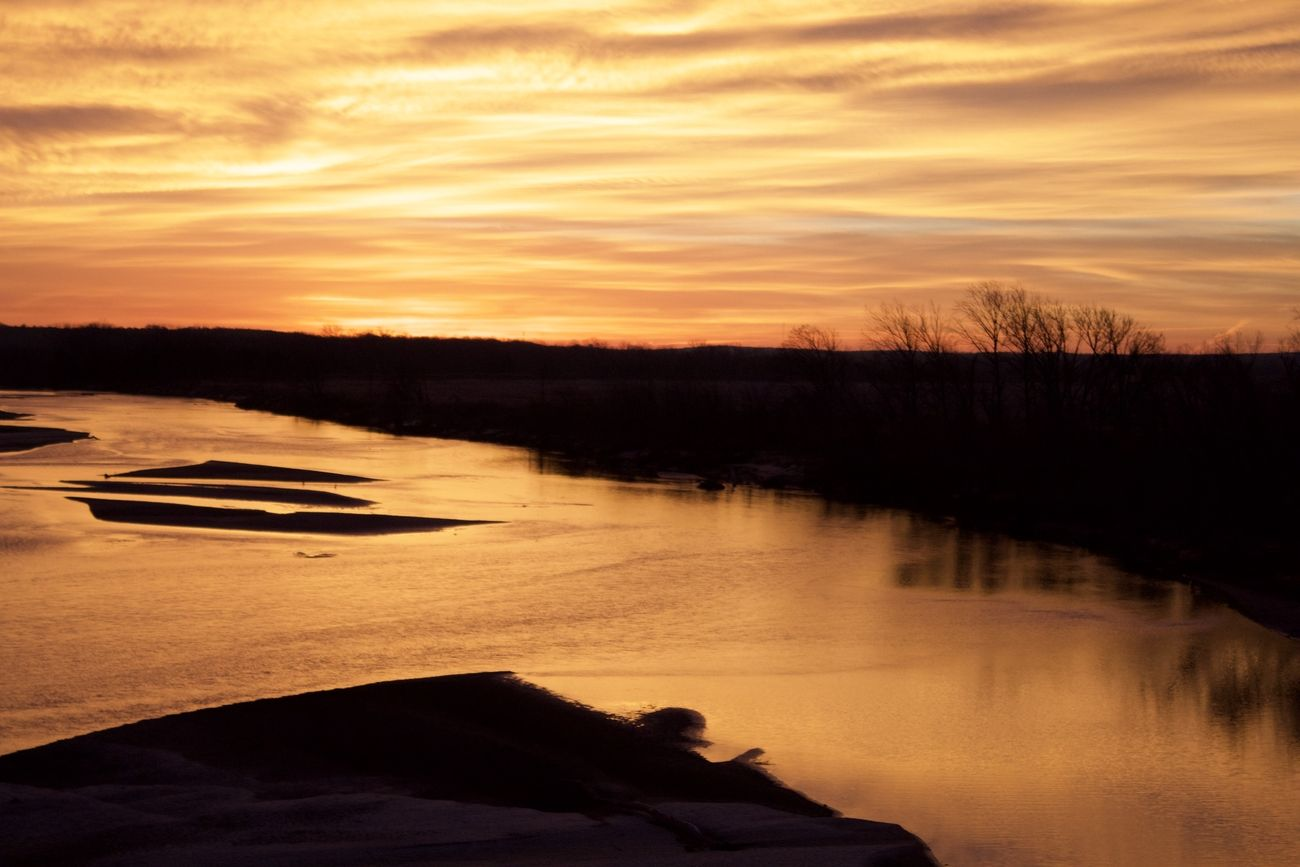 Sunrise on the south Canadian River near Atwood Oklahoma