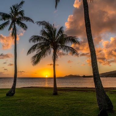 Sun setting on the USA, the shortest day of the year, December 21st, Honolulu, Hawaii.