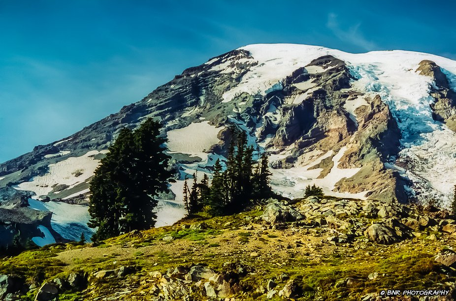 Summer below the summit on Mount Rainier. Many crevasses have opened. As long as you stay on the ...