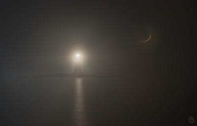 Moonset in the fog
