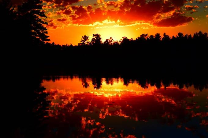 Amazing sunset from the dock of friend n Rainy Lake