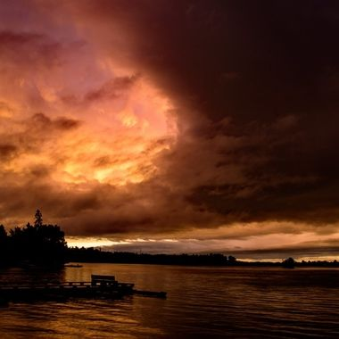 Sunset sky as the storm closes in over the VNPHQ fishing dock