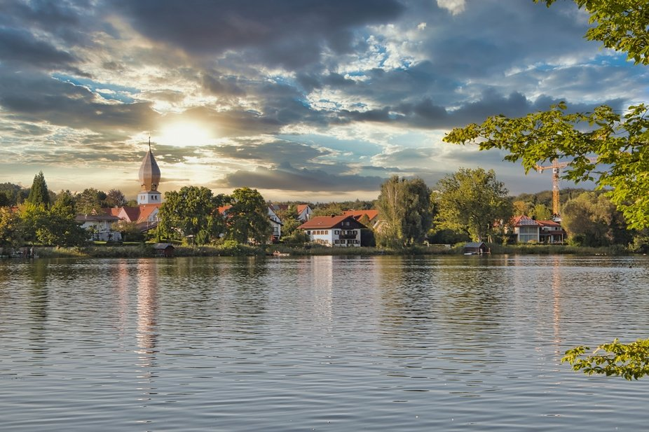 The beautiful lake in Wessling, Bavaria, taken late afternoon in September, when we were still al...