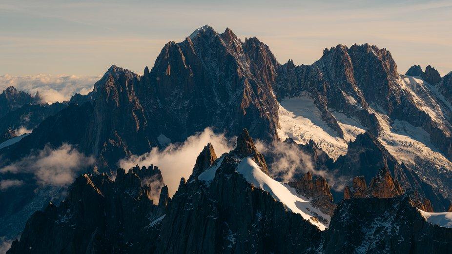 A beautiful cloud inversion over the mountains surrounding Chamonix.