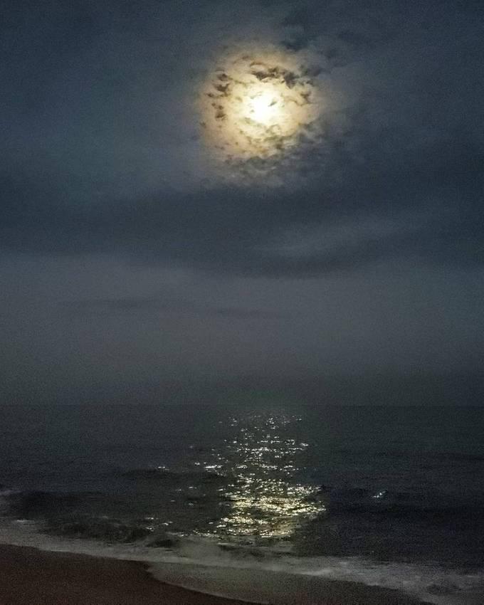 Moon over the ocean in Spring Lake, NJ