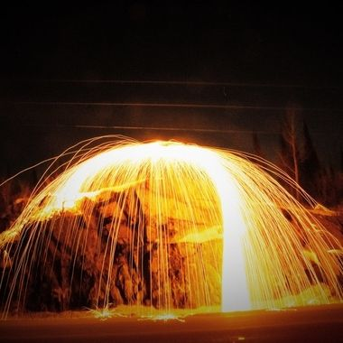 Spinning steel wool at the rock cut on truck route