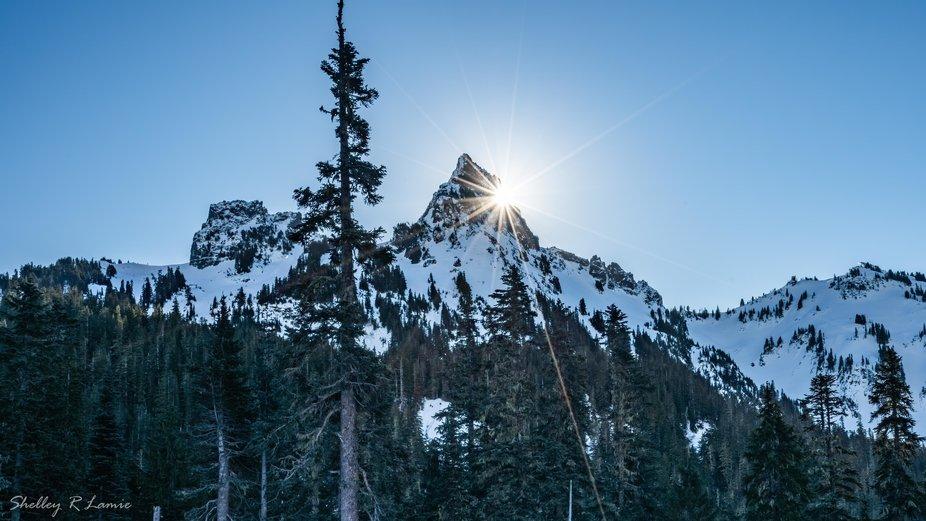 Pinnacle Peak with the sun rising.