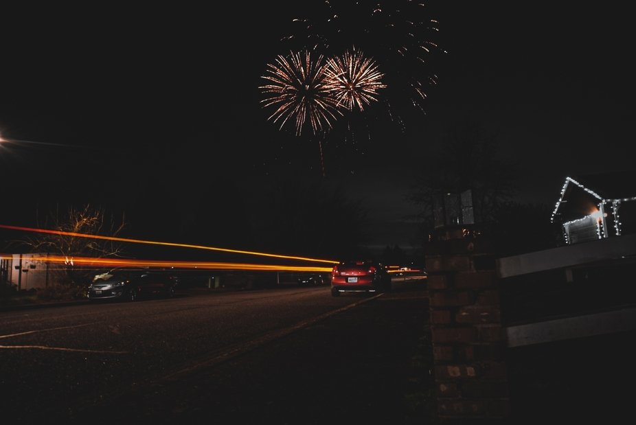 Long exposure with fire work explosion on new year.