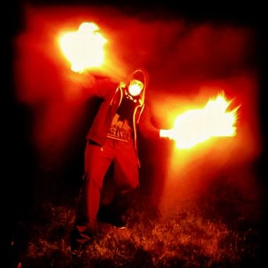 This mad man with two fire paint cans