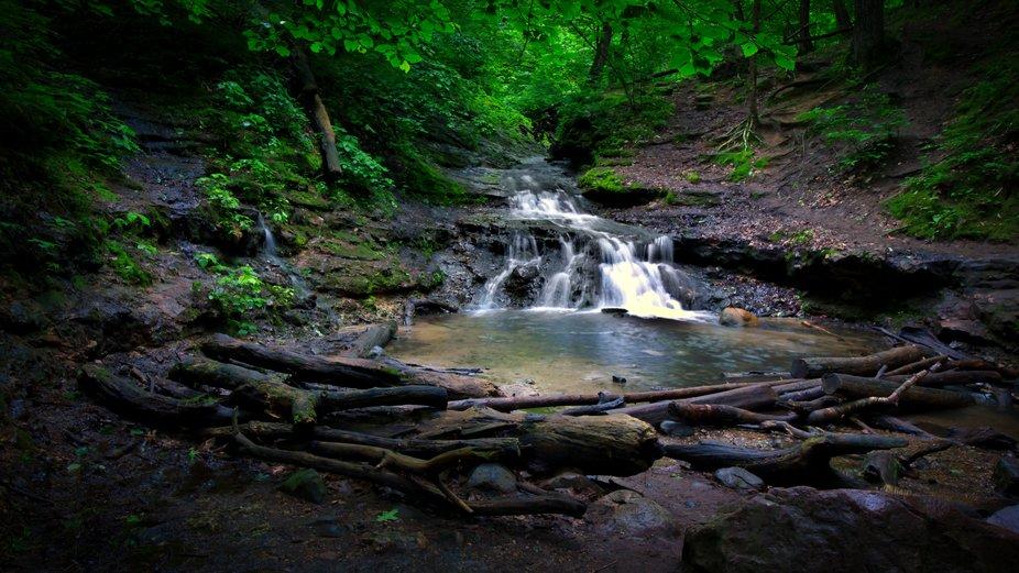 The waterfall at the start of Parfrey's Glen, near Baraboo, Wisconsin USA