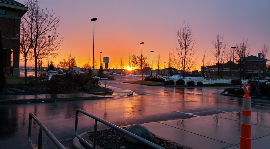 Surprizing, Au Natural evening sunset over local parking lot. Taking a blah and made an &quot...
