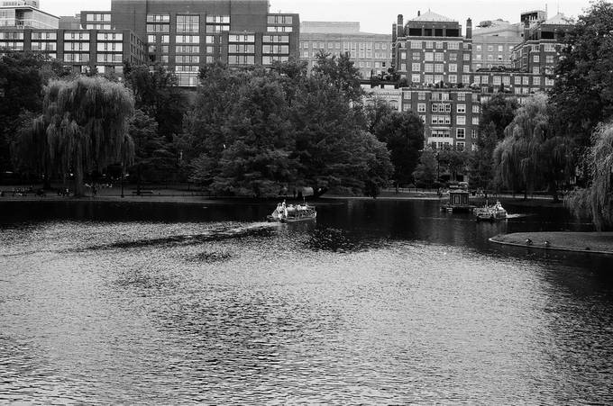 A look at the Duck boats in Boston commons from the nearby footbridge. A shot was taken on a Nikon f3HP on JCH Street Pan.