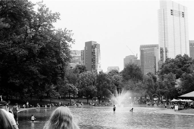 Another water attraction within Boston commons during summer 2019. Taken on JCH Street Pan 400 with a Nikon F3HP.