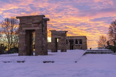 El templo de Debod Nevado
