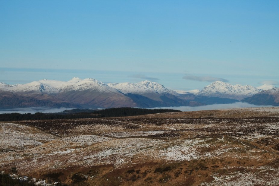 the view of the southern uplands with loch lomond shrouded in fog