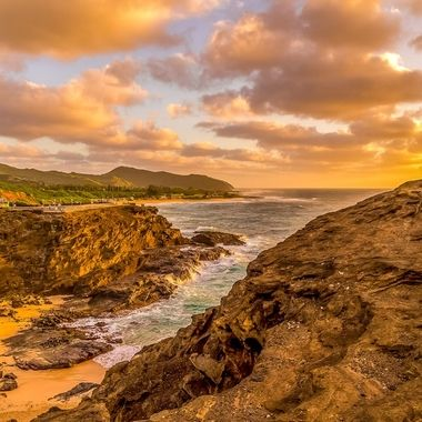 Sunrise at Secret Beach which is located on the east end of the island of Oahu.