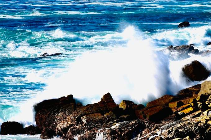 Captured this image along the rugged shore of Carmel, Ca using a shutter speed allowing for motion to create the softened look of the waves water.  Using a tripod to mount my Daly with a 70-200 zoom