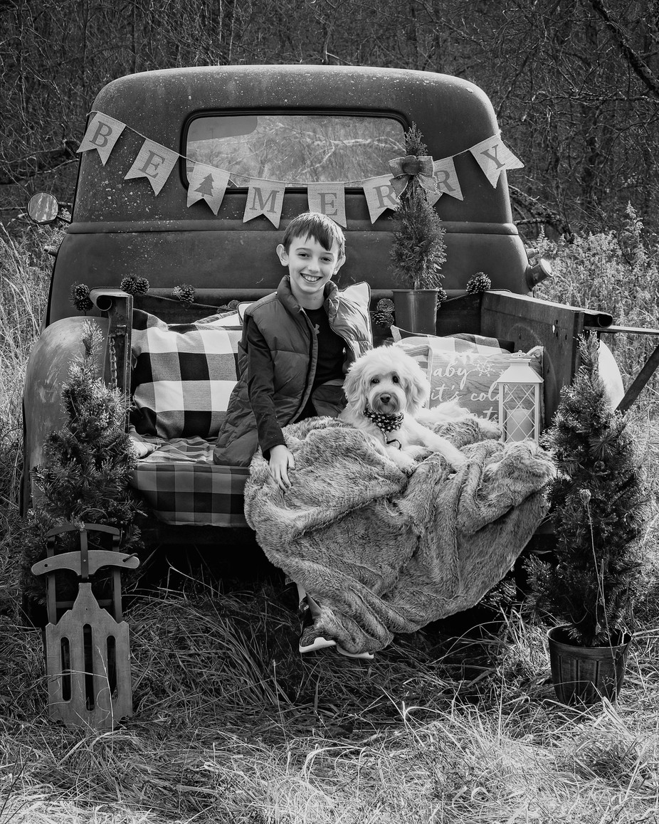 A Boy and His Dog in Black and White