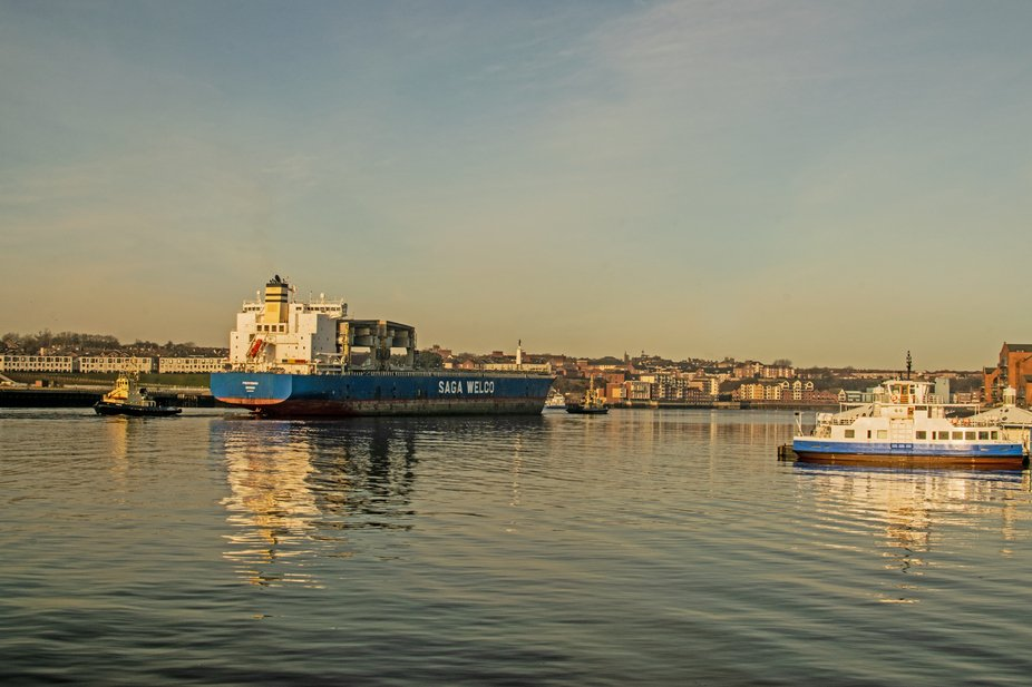 MV PROVINDA leaving the river Tyne passing South Shields ferry landing.