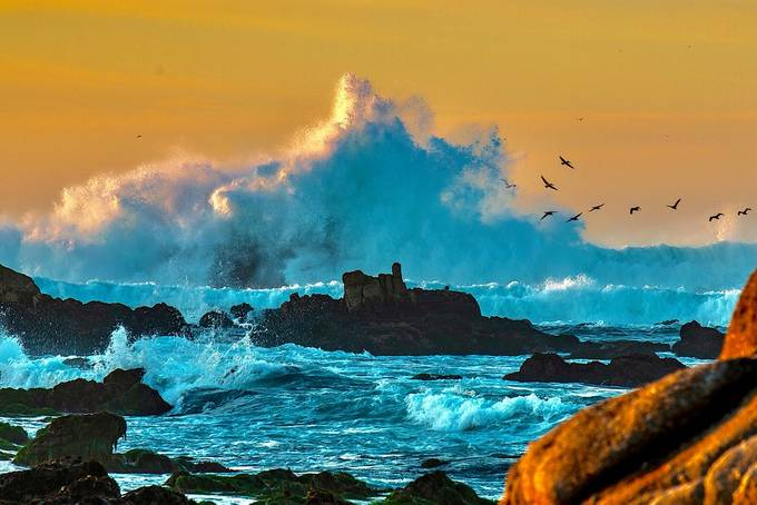 Rapturous Sunset Seas...Captured near Pt Pinos along the California Coast Tirbulent storm  swells for the North West collide with hige granite outcroppings giving way to tremendous wave displays.   Intrigued by natures ability to mix serene skies with vio