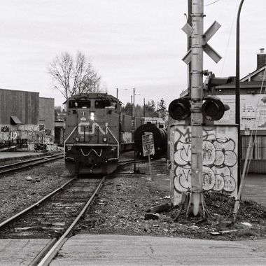 This train is just about to get going shot with 35mm film