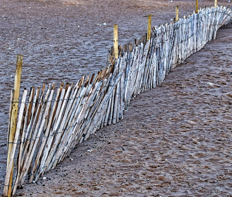 Fencing put in place to stop sand blowing off beach.