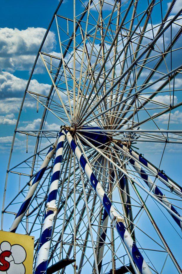 Installation of Ferris Wheel at local fairground.