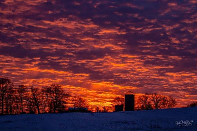 The contrast, colors and textures of this beautiful winter sunrise are almost hypnotizing.