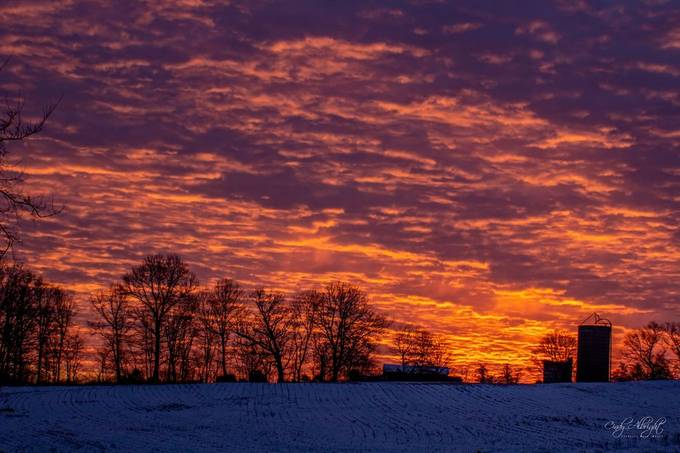 A gorgeous sunrise on a cold morning in January.