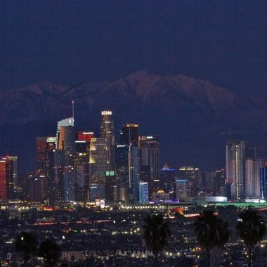Loss Angeles Downtown with snow capped mountain IMG_2591