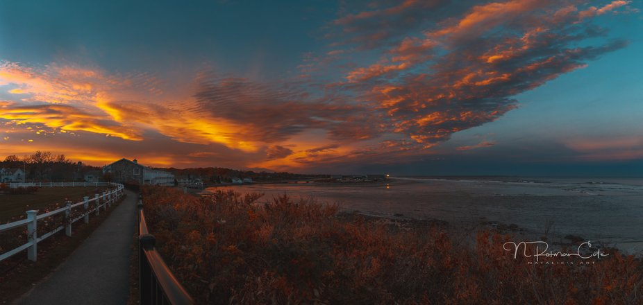 On vacation in Ogunquit Maine, we saw a spectacular sunset! Created a panorama from the Marginal ...