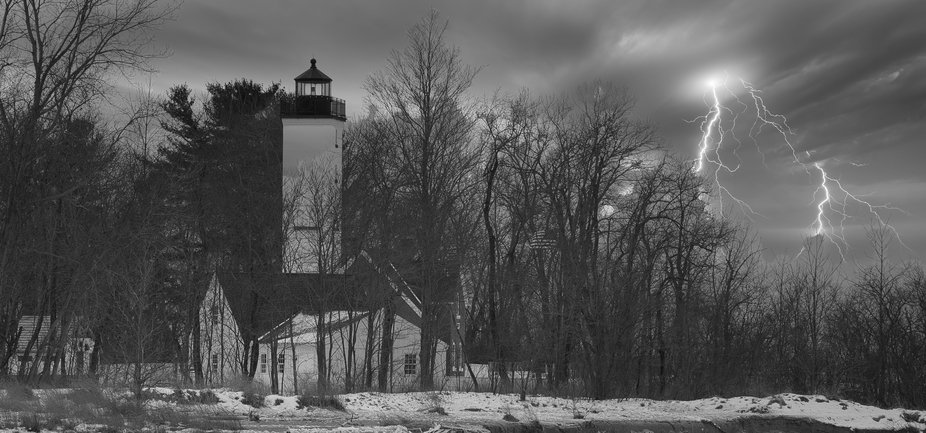 This is one of the lighthouses at Lake Erie in Pennsylvania.