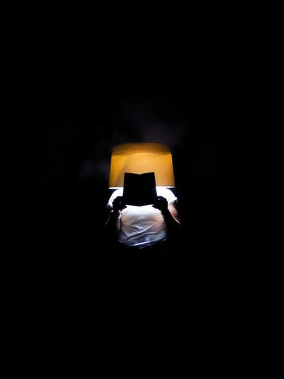 Reading in the dark #lampshade portrait