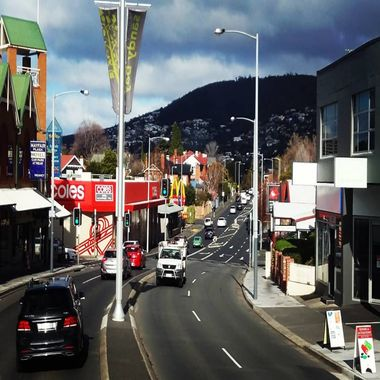 Touring around Hobart on the city bus tour bound for Sandy Bay
