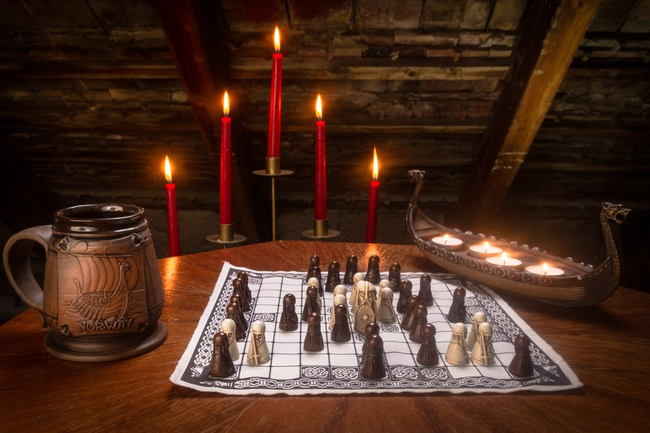 """Product photography """"The King's Table"""" Hnefatafl, a game with Scandinavian origins. hnefi = probably king tafl = board In the popular series Vikings you can see the protagonists playing this game."""