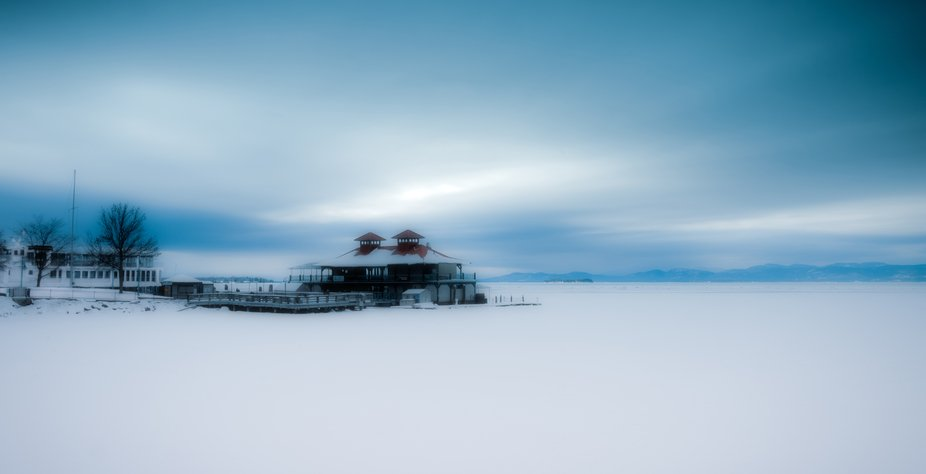 Lake Champlain frozen over in February taken from it's shores at Burlington Vermont.