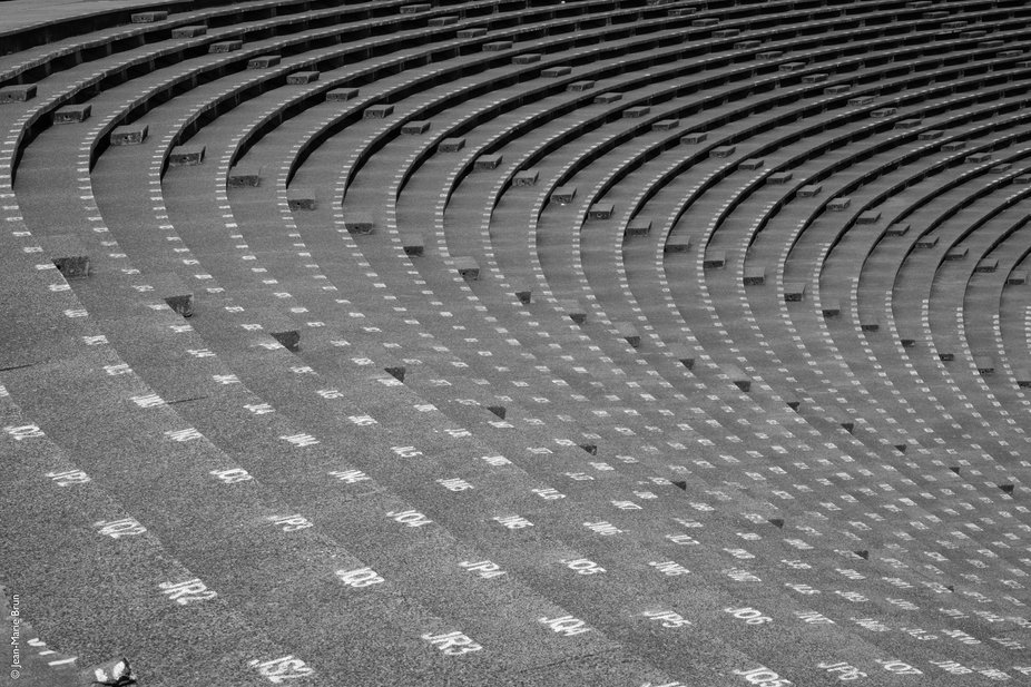 The beautiful shape of row stands in Phnom Penh Olympic stadium.
