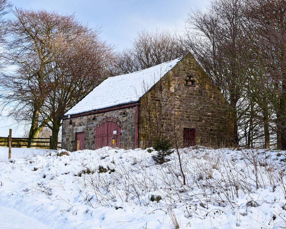 Barn in snow at Pockerley Hall in Durham.
