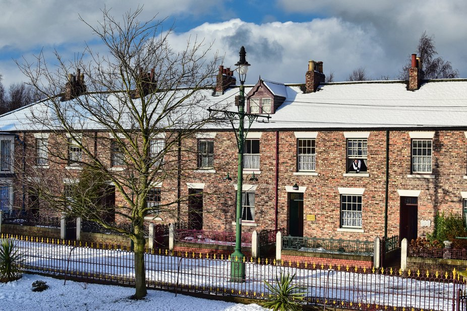 The Edwardian main street in winter at Beamish museum UK.