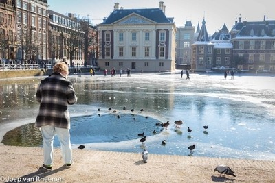 feeding the birds in a frozen pond @ joep van rheenen