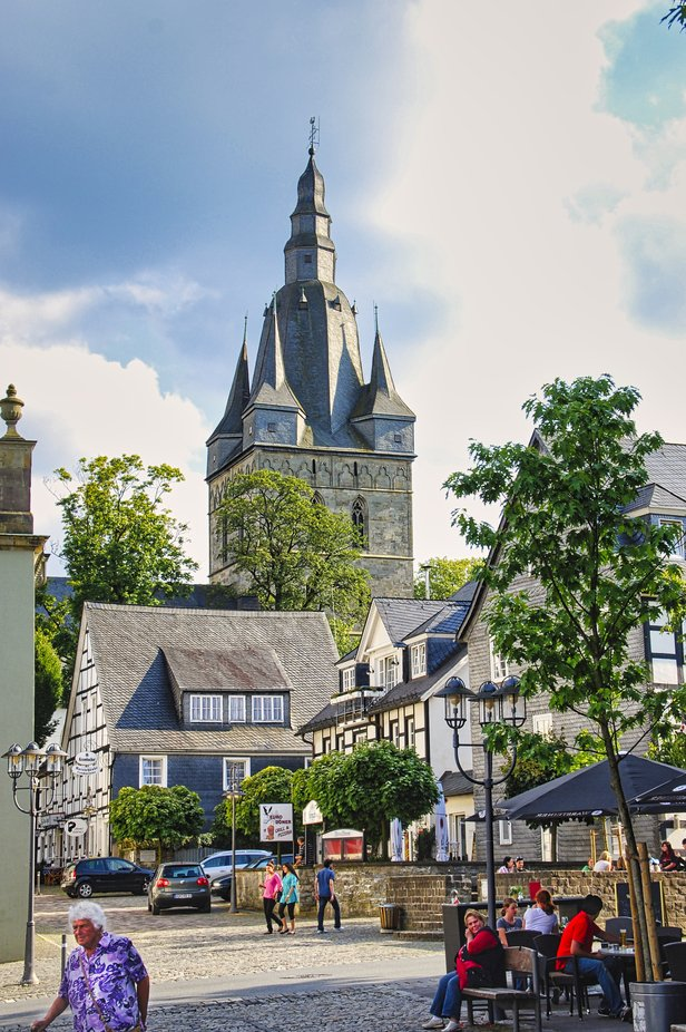 Town centre in Brilon Westphalia Germany.