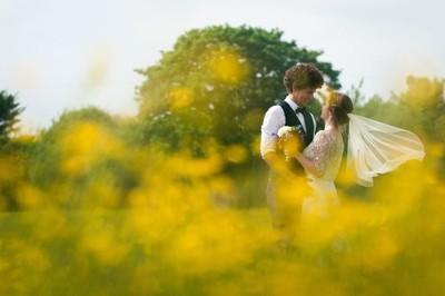 Golden bride and groom