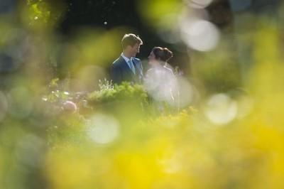 English country garden bride and groom