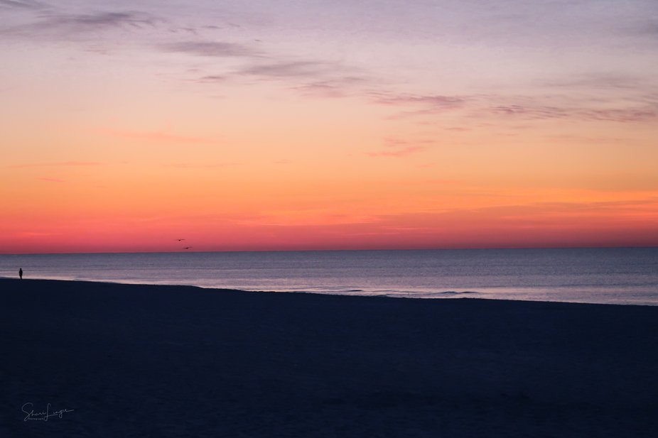 Sunrise at Pensacola beach, Gulf of Mexico in the Florida Panhandle