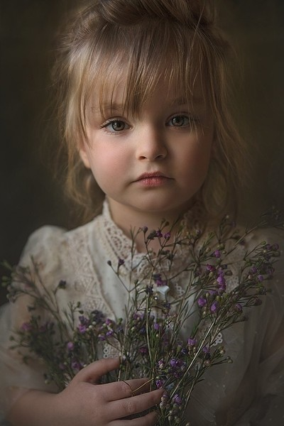 Girl with Purple Baby's Breath
