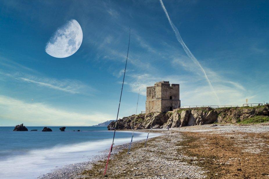 Fishing poles at the beach